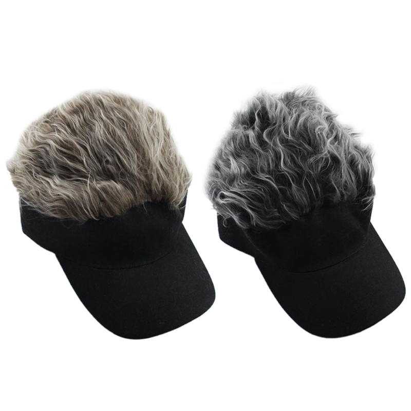Men Women Fake Flair Hair Baseball Cap Sun Visor Fun Halloween Party Toupee Hat