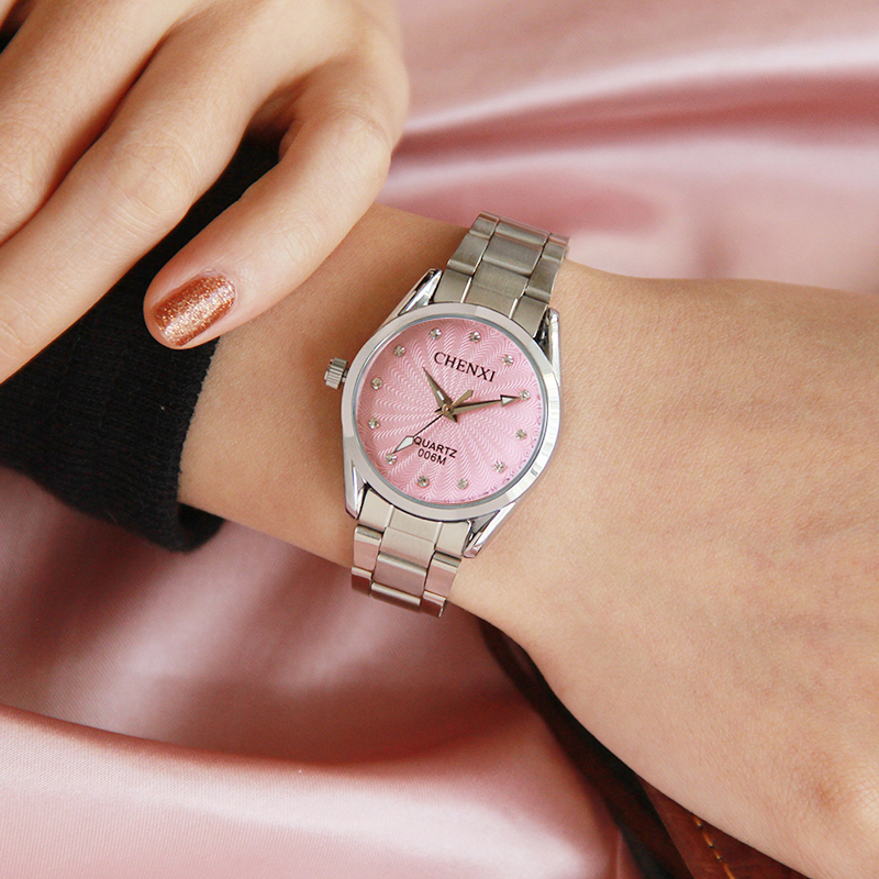 Women Watches Brand CHENXI Pink Color Rhinestone Silver Stainless Steel Quartz Lady Wristwatch Fashion Casual Watch Woman skone fashion simple watches for women lady quartz wristwatch stainless steel band watch for woman relogio femininos