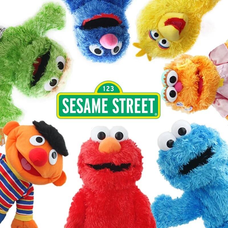 7 Styles Sesame Street Hand Puppet Plush Toys Elmo Cookie Grover Zoe & Ernie Big Bird Stuffed Plush Toy Doll Gift for Kids mattress