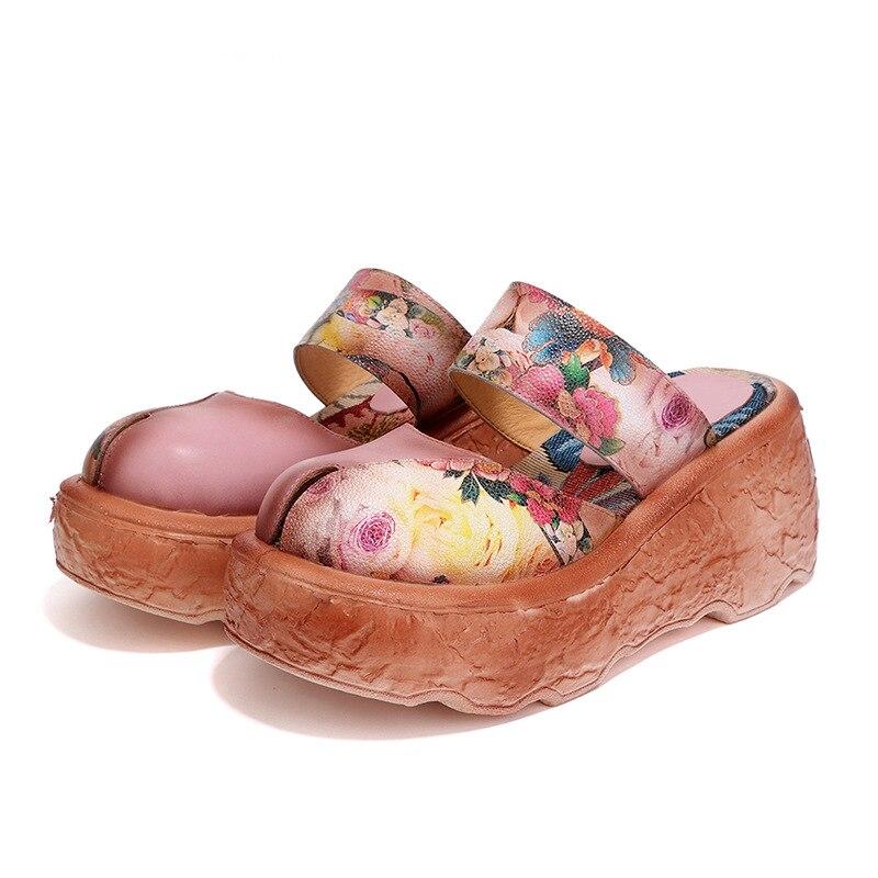 2018 primavera e no verão das sapatas das mulheres, estilo nacional do bordado, couro genuíno, handmade antigo lazer sandálias pão de ló.