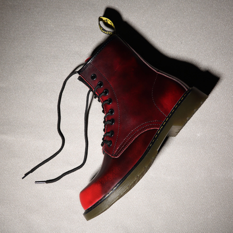 GRAM EPOS Male Autumn Spring Cowhide Split Leather red blue winter Boots Men High Top Martin Motorcycle botas Lover snow Boots