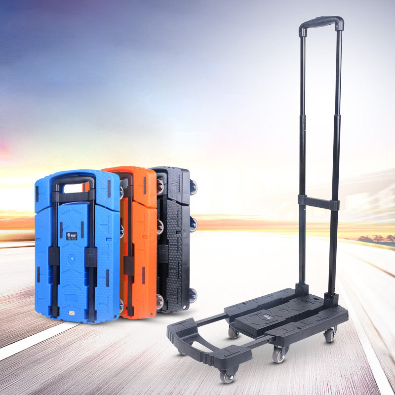 Mini Folding Carriage Loader Trolley Trailer Tractor Pull Truck Cart SmallPortable Travel Luggage Cart Rubber Wheel outdoor beach trailer with widen 10cm rubber wheel foldable kids wagon portable twins cart with roof outdoor beach carriage