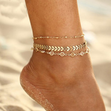 Hot Sell 3Pcs/lot Summer Crystal Sequins Anklet Set For Women Beach Foot Jewelry Vintage Statement Anklets Boho