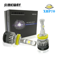 Simeway 2x Car mini H11 led 12000lm Headlight Bulbs Kit HB3 9005 9006 HB4 H4 9012 9004 H8 XHP70 H7 led 6000K 100W turbo headlamp