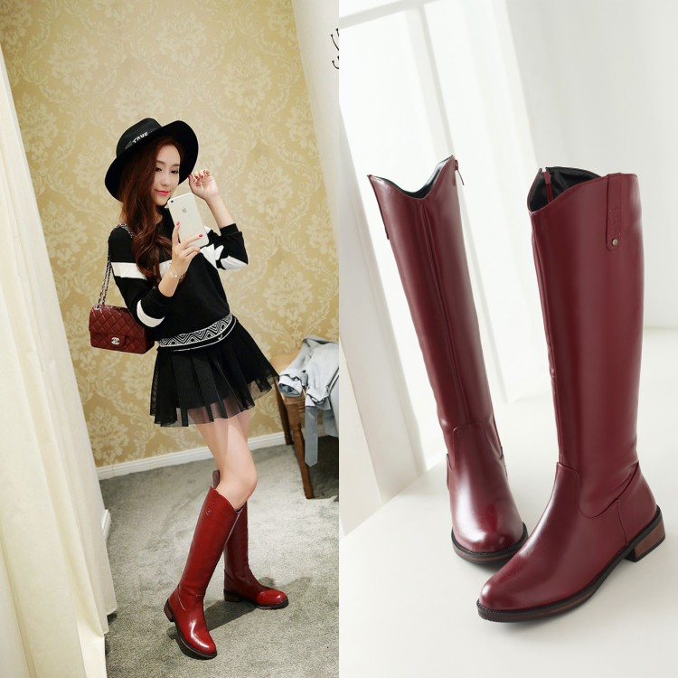 ФОТО 2015 winter women boots New small yards 32 33 side zip stovepipe Flat Boots plus size 42 43  boots low retro warm Martin boots