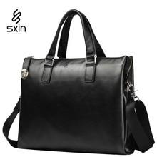 Men's Genuine Leather Vintage Briefcase Laptop Bag High Quality Large Capacity Shoulder Bag Crossbody Bags