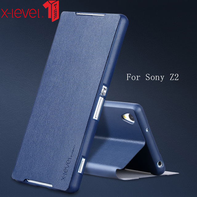 huge selection of 4a3c3 3f371 US $7.5 25% OFF|X Level Flip PU Leather Case For Sony Xperia Z2 Stand Phone  Back Cover Coque For Sony Xperia Z2 Cases Business Plain Phone Case-in ...