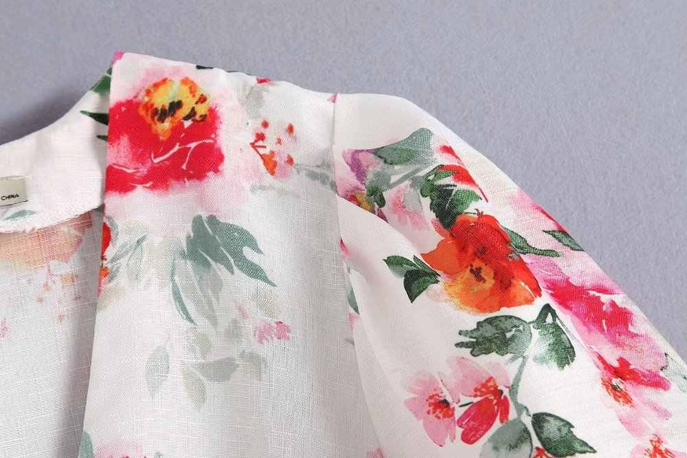 2019 Za Summer Women Cotton Linen Floral Print Dress Za A-line Balloon Sleeve Dresses Print Women Clothing Vestidos