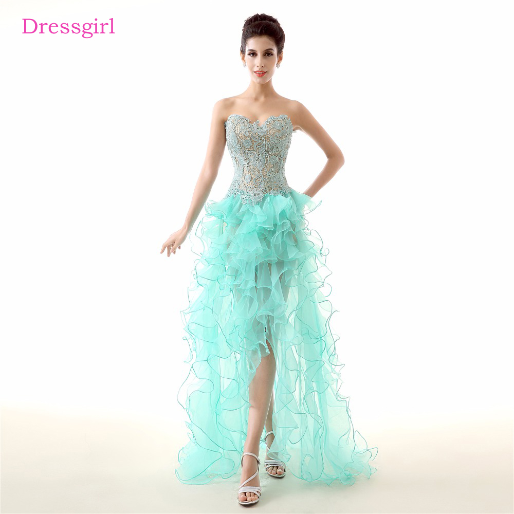 Mint Green 2019   Prom     Dresses   A-line Sweetheart Beaded Lace Organza Hi Low Backless Sexy   Prom   Gown Evening   Dresses   Robe De Soiree