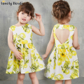 Girls Dresses Summer 2016 brand Baby Girls Clothes blackless Kids Dresses Lemon Print Princess Dress Girl Party Children Dress