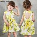 Niñas vestidos de verano 2016 de la marca bebé ropa de las muchachas niños vestidos de blackless lemon imprimir princess party girl dress vestido de los niños