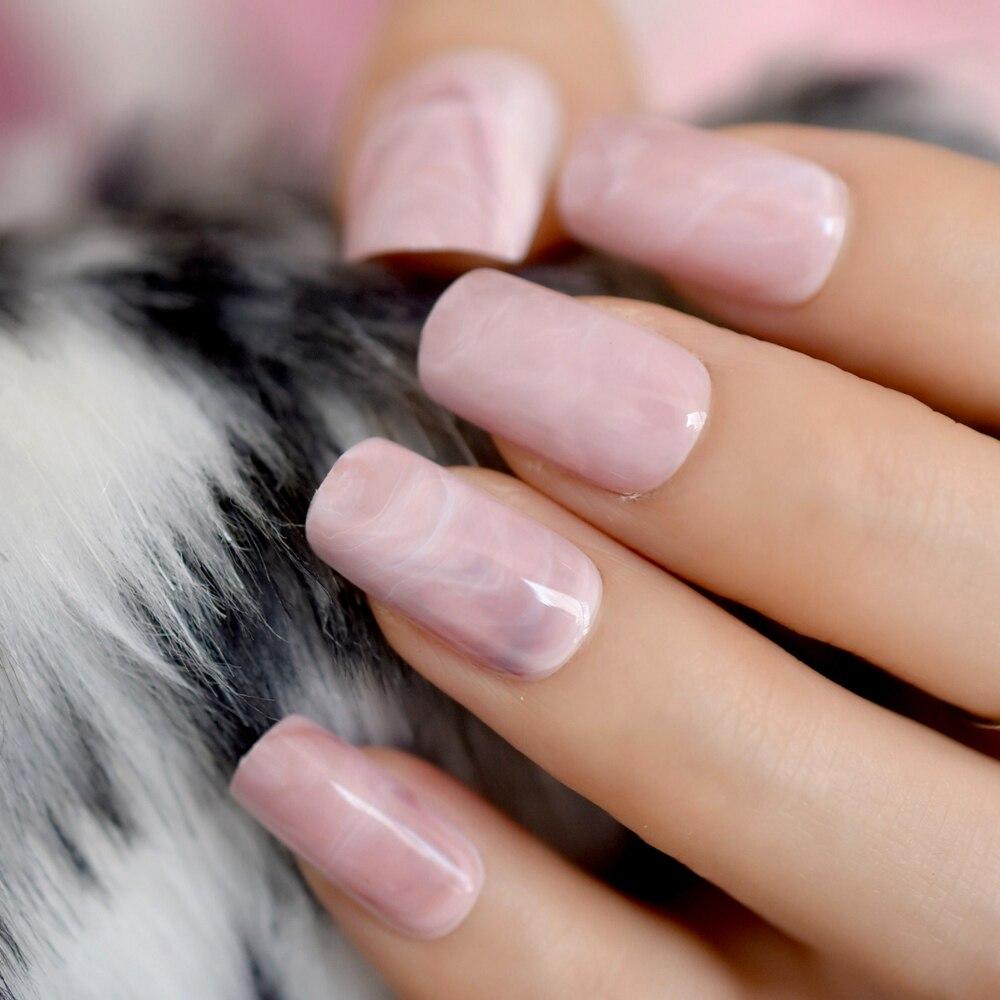 Square Head False Nails Tips Pink Marble Texture Fake Nail Acrylic