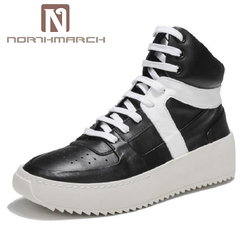 NORTHMARCH New Fashion High Top Casual Shoes Men Leather Lace Up Red White Mixed Color Mens Casual Shoes chaussure homme cuir gram epos men casual shoes top quality men high top shoes fashion breathable hip hop shoes men red black white chaussure hommre