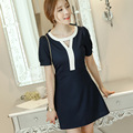 Free shipping 2016 Summer New Navy Blue Plus Size Hollow Stitching Short-sleeved Dress Bottoming Dress JN312