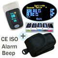with Pouch with Setting Alarm+Beep Fingertip Pulse Oximeter  SPO2 Pulse Rate Oxygen Monitor Sound Different Directions Display