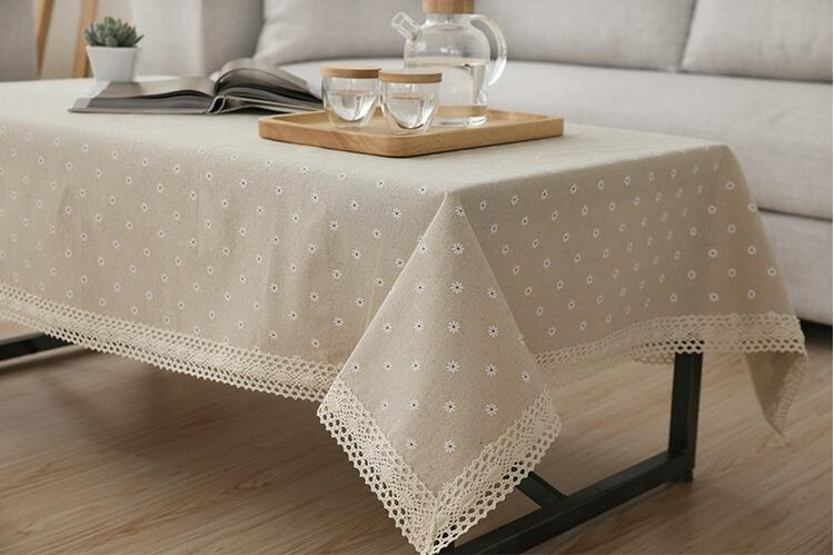 150cm Linen Cotton Table Cloth Daisy Cherry Pattern Tablecloth Lace Edge  Dustproof Table Covers Pastoral Style
