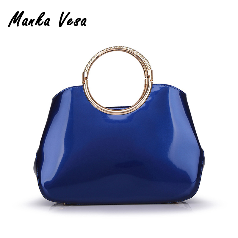 Vintage women bags red blue patent leather handbags ladies handbag clutch women large tote bag bolsas de marca women patent leather handbags ladies candy color luxury large tote bag ladies smiley shoulder bags high quality 2016 bolsas