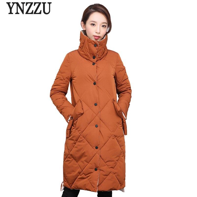 Nouveau Green Veste Parka orange Manteau Chaud Femmes Ynzzu Vêtements Marque army Coréenne Noir Style 2018 Longue Automne Casual Hiver Outwears Yo627 qHf47Bx5