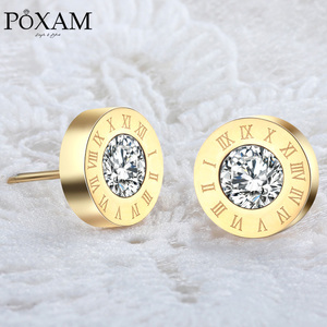 POXAM Fashion New Roman Numeral Round Crystal Small Stud Earrings for Women Man Personality Statement Cubic Zirconia Ear Jewelry