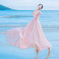 Free ship light pink seashore vintage fairy long dress with jacket medieval dress Renaissance Gown princess Victorian dress