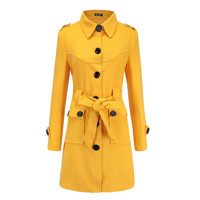New Arrival 2018 Clothing Fashion Bodycon Vintage Belt Button Casual Coat Elegant Women Wool Long Korean Coat