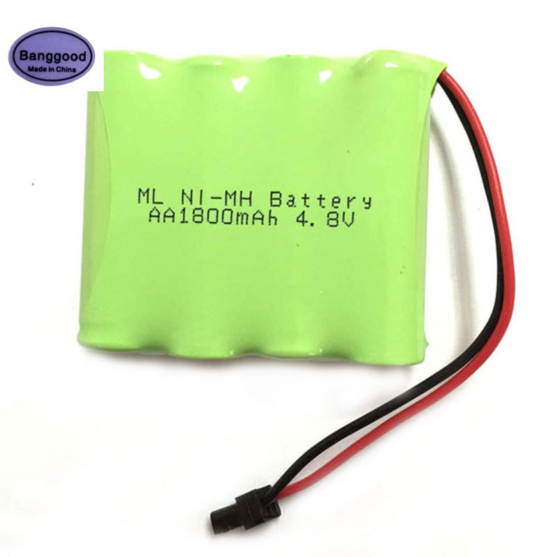 High Quality 4 8V 1800mAh 4x AA Ni MH RC Rechargeable Battery Pack with Small Black Plug for RC Cars RC Boat Remote Toys in Battery Packs from Consumer Electronics