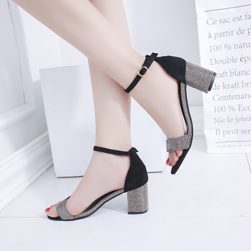 Black Red Gold Female Sexy Ankle Strap High Heels Party Shoes Open Toe Buckle Heels Summer Women Sandals Sweet Shoes new rhinestone women sandals ankle buckle strap fashion open toe comfortable chunky high heels red black shoes zapatos mujer