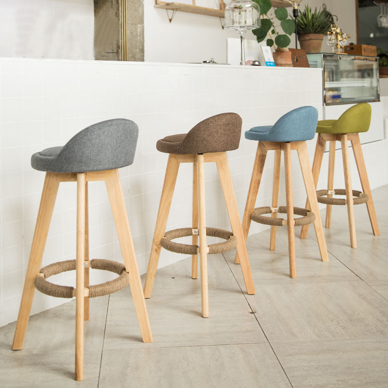 Nordic Brief 360 Degree Revolve Creaive Bar Stool And Tabel  Bar Stools For Home Vintage Style Solid Wood Bar Chair Kitchen