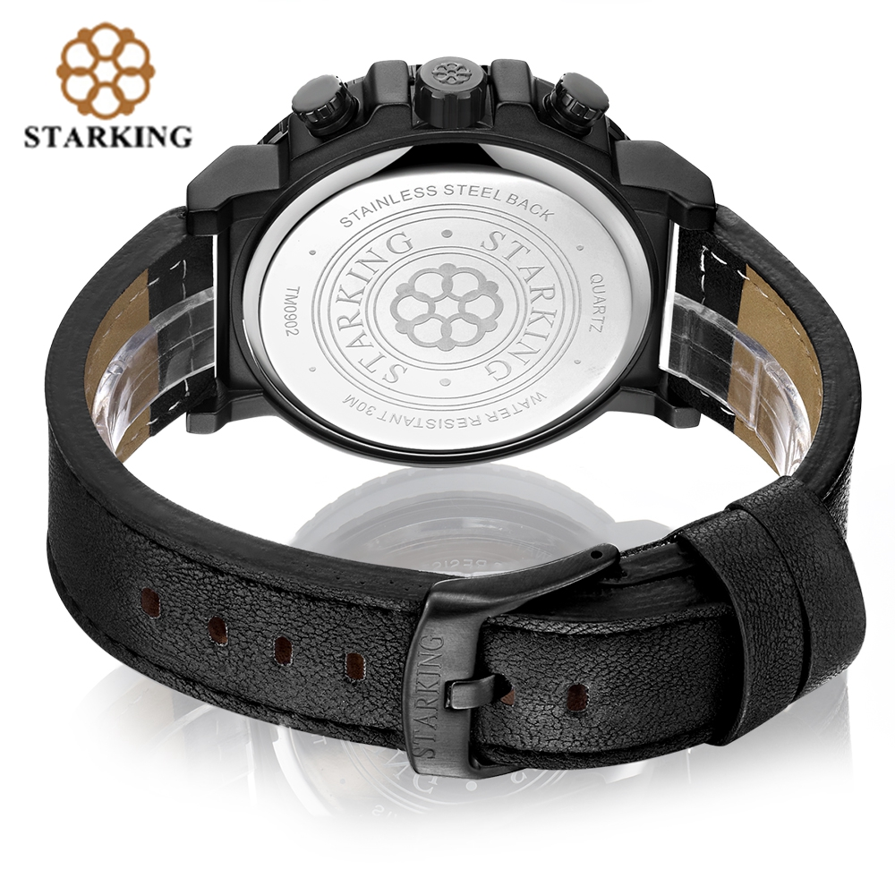 STARKING Genuine Leather Men Sport Watch Army Chronograph Data - Męskie zegarki - Zdjęcie 4