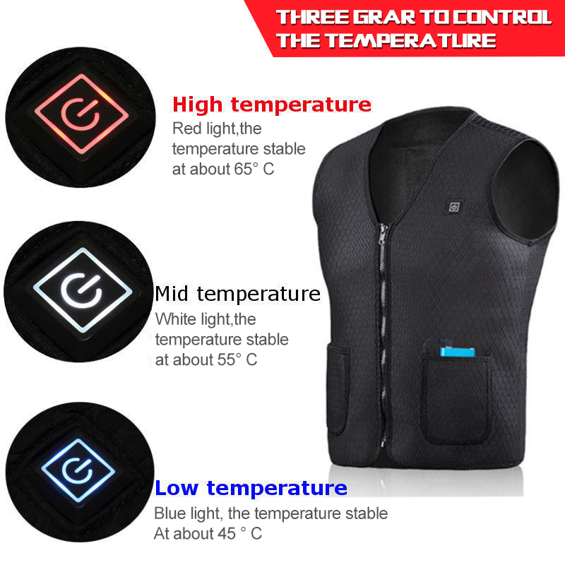 2019 New Winter Electric Heating Jacket Vest Heated Cloth Coat Men Women's USB Warm Sport Softshell Winter For Hiking Camping