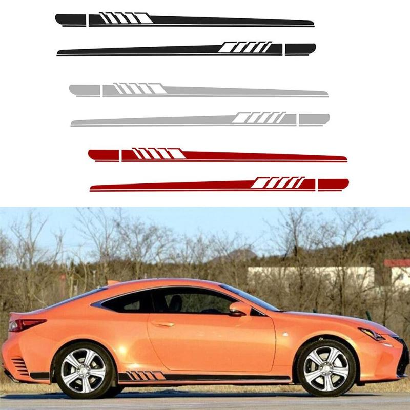 2pcs Auto Side Body Vinyl Decals DIY Long Stripe Car Stickers Wrap Film For Mercedes-Benz Automobiles Car Styling Accessories