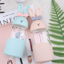 Rabbit Kawaii Cute Water Bottle Korean Student Girl Cup Super Glass with Rope Fresh Simple Milk Bottles