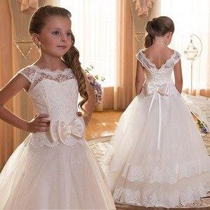 Image 1 - תחרה Teen בנות שמלת 2018 חדש הטולה ילד חתונה לבן נסיכת תחרות שמלת שושבינה שמלות לילדים מסיבת ערב בגדים