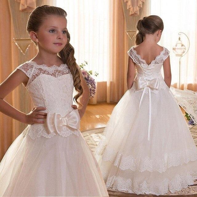 תחרה Teen בנות שמלת 2018 חדש הטולה ילד חתונה לבן נסיכת תחרות שמלת שושבינה שמלות לילדים מסיבת ערב בגדים