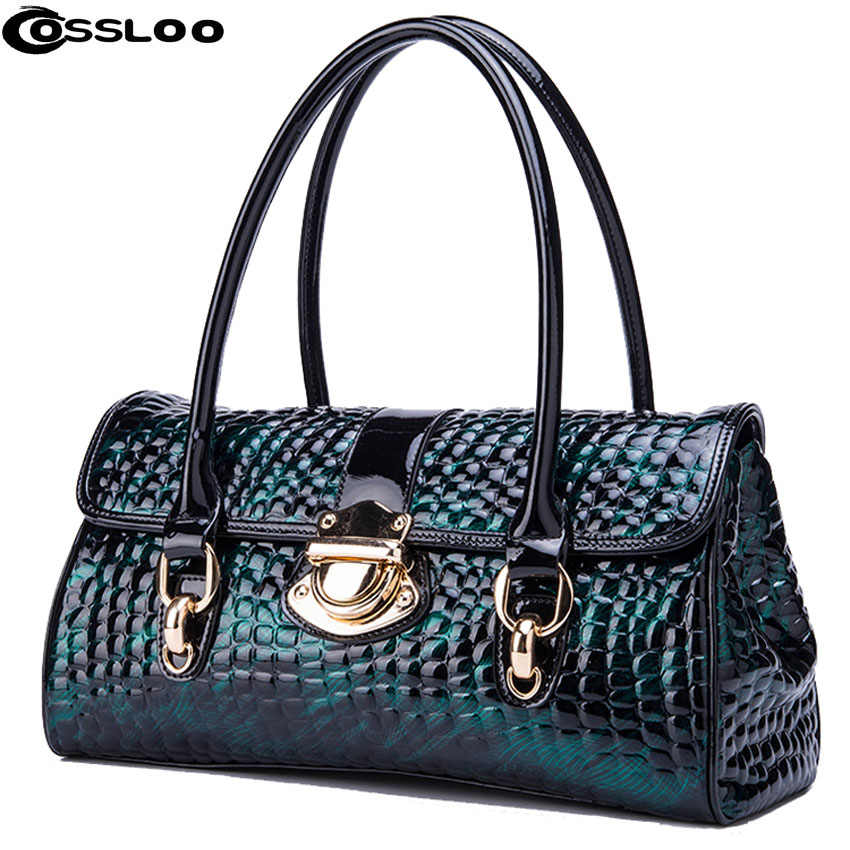 COSSLOO Luxury Genuine Leather bag women fashion alligator real cow leather  designer handbags bags handbags women 31b6a6c9068e0