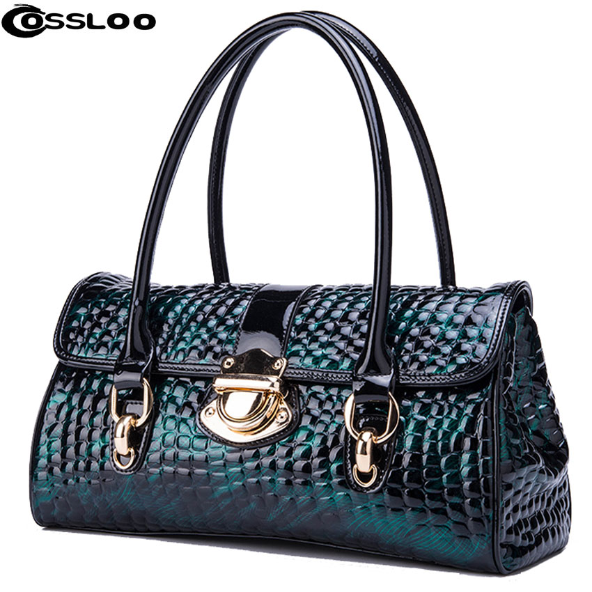 COSSLOO Luxury Genuine Leather bag women fashion alligator real cow leather designer handbags bags handbags women famous brands cossloo women genuine sheepskin leather handbags messenger bags real leather handbags fashion large shoulder bags free shipping