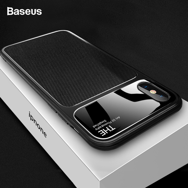 competitive price f4ad4 2a092 US $4.8 50% OFF|Baseus Luxury Phone Case For iPhone X 10 Capinhas Soft TPU  & Glass Back Cover Fitted Case For iPhone 8 7 Plus Coque Fundas-in Fitted  ...