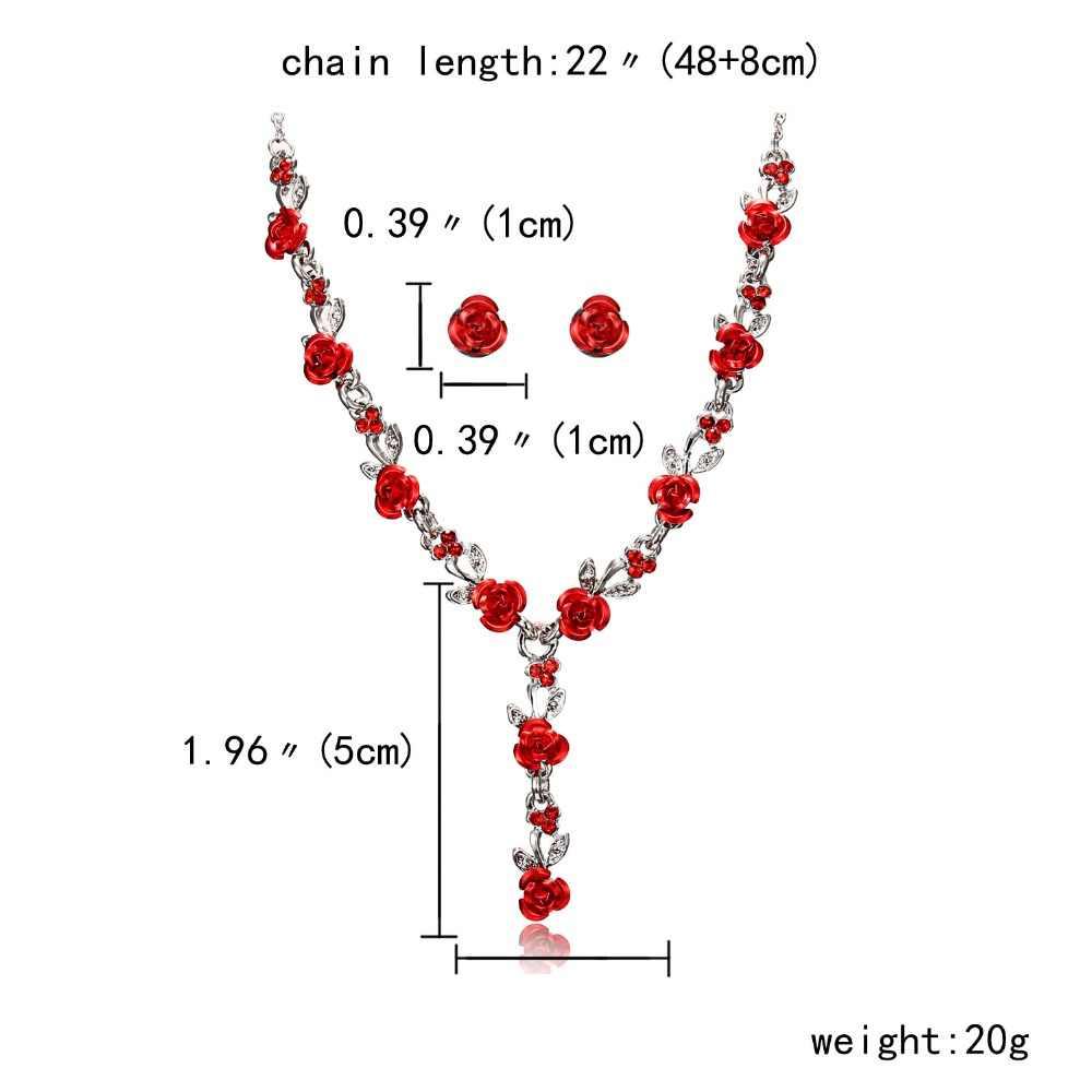Conjuntos de joyas de flor en rosa roja, Gargantilla, collar, conjunto de joyería, pendientes, joyería nupcial, conjunto de joyería Dama de Honor de boda