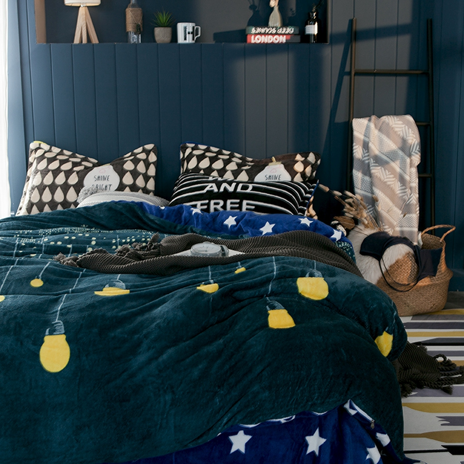 light stars item cover pillow bulb green sheet from sets adults in flannel queen size for king case bedding bed duvet set home blue