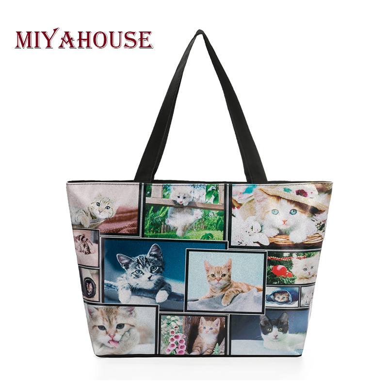 Miyahouse Fashion Shine Tote Handbag Women Cute Cats And Dogs Printed Shoulder Bag Female Leather And Canvas Beach Bag Lady cartoon printed casual tote fashion women canvas beach bag female canvas handbag daily use single shoulder shopping bags