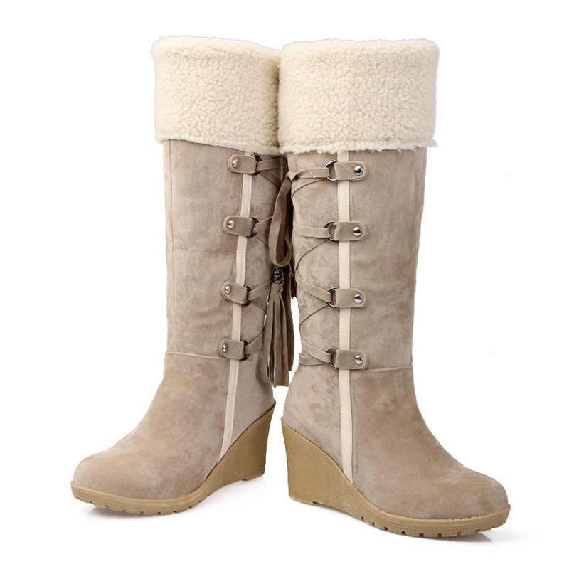 נשים חורף מגפיים גבוהים בתוספת גודל 43 נשים אמצע עגל מגפי שלג חם מגפי זמש טריז מגפי אופנה צלב -קשור גבירותיי נעליים
