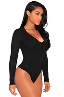 Adogirl Women Black Sweater Knit Bodysuits Lady Female V Neck Long Sleeve Bodycon Body Suits One