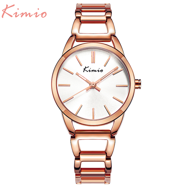 KIMIO Quartz Charming Stainless Steel Back Bracelet Watch Women Ladies Dress Crystal Clock Elegant Luxury wristWatches with box
