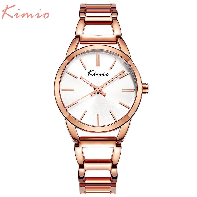 KIMIO Quartz Charming Stainless Steel Back Bracelet Watch Women Ladies Dress Crystal Clock Elegant Luxury wristWatches with box