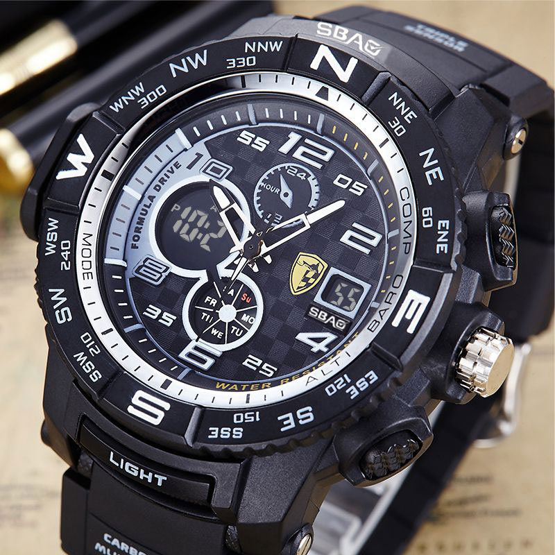 SBAO Fashion Sport Watch Men Top Brand Luxury Famous Electronic LED Digital Wrist Watches For Men Male Clock Relogio Masculino weide popular brand new fashion digital led watch men waterproof sport watches man white dial stainless steel relogio masculino