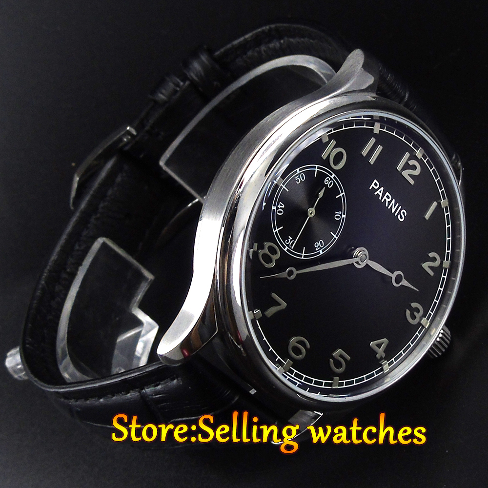 Parnis 44mm Stainless steel case hand winding movement mens Watch 6497 men's Watch цена и фото