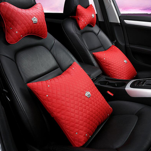 Car Head Rests Pillows Lumbar Cushion Leather Crown Car Seat Belt In-Car Seat Neck Pillow Backrest Four Seasons Auto Accessories