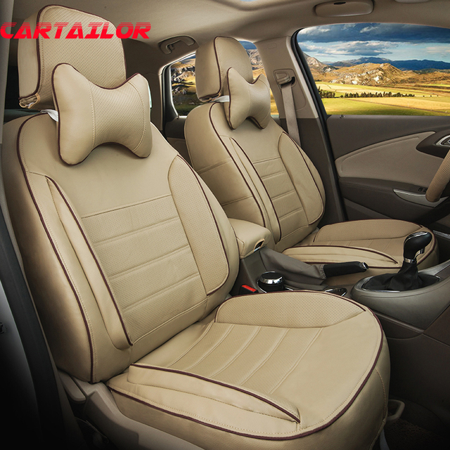 CARTAILOR Auto Seat Supports for Ford Explorer 2016 2018 2013 Seat Covers Accessories Set PU Leather Cushion Cover for Car Seats