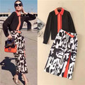 High Quality 2017 Spring New Runway Suit Set Women's Long Sleeve Shirt Blouse + Pattern Floral Print Long Skirt and Tops 2 pcs