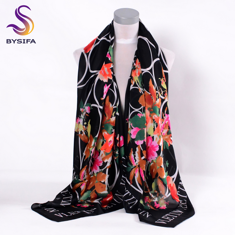 [BYSIFA] Black Letters Ladies Silk Scarf Brand Design Round Pink Flowers Super Large Size Square Female Scarves Wraps 130*130cm